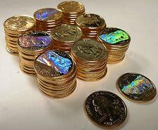2006 NORTH DAKOTA GOLD STATE QUARTERS W/ HOLOGRAM~100 PIECES~BISON & BADLANDS