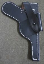WWII GERMAN P08 LUGER PISTOL OPEN PARATROOPER HOLSTER-BLACK LEATHER