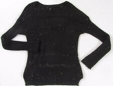 Guess Women's Crochet Knit Blend L/S Boat Neck Black Sequin Sheer Sweater - XS