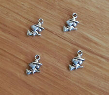 20 Witch Charms Witch Riding Broom Halloween Charm Antique Silver Tone 10*15