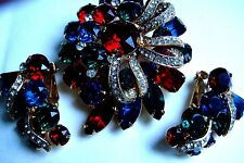 Signed EISENBERG Multi color Rhinestone Brooch and earrings-MINT, clean stones!