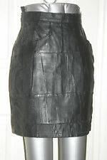 BLACK Real LEATHER MINI SKIRT Patchwork Fetish Size uk10 us6 eu36 W w25ins w64cm