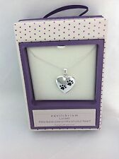 Silver Plated Cat Dog Paw Print Heart Locket Necklace Pendant By Equilibrium