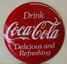 COCA COLA drink ice cold coca cola button heavy embossed metal sign coke 2180181