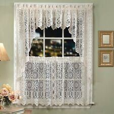 Lorraine Home Fashions Hopewell Lace Window Swags, 58-Inch by 38-Inch, White, Se