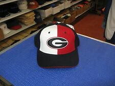 """GEORGIA BULLDOGS- BLACK CAP-OFF-WHITE & RED PANEL & """"G"""" ON FRONT SIZE 6 7/8-LAST"""
