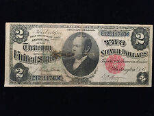 1891 Two Dollar $2 Silver Certificate Fine Windom Note Bill Currency Red Seal