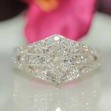 18k White gold Natural Marquise VS1 Diamond Wedding Engagement Ring 1.37ct VIDEO