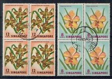 Singapore stamps - 1962 definitive Orchids flowers fine used block of 4