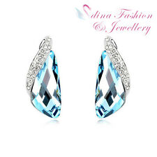 18K White Gold Plated Made With Swarovski Crystal irregular Cut Stud Earrings
