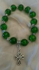 VERDE Smeraldo Croce Celtica 10mm Crackle Glass Bead Bracciale Irlandese Regalo di Natale
