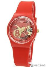 New Swiss Swatch Originals Eight For Luck Red Silicone Watch 34mm GR166 $65