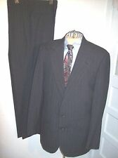 Mens CORBIN LEGENDS Suit 44L  38x33.5  Charcoal Black Pinstripe CLASSIC!!!  EUC