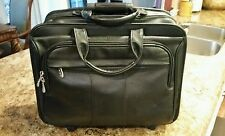 McKlein Detachable-Wheeled Briefcase/Laptop Case - Black Leather