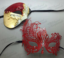 His & Her Couple Masquerade Mask, Red Themed Swan Mask, Clear Rhinestones