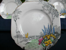 MELBA BONE CHINA #5167-ART DECO-1930's-BREAD PLATE(S)-GARDEN SCENE-XLNT!! GILT!!