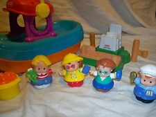 Fisher Price Little People Lot Fishing  Boat / Dock / Fish  and people