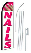 Complete 15' Nails White Kit Swooper Feather Flutter Banner Sign Flag