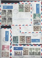 VATICAN 1960's COLLECTION OF 9 COMMERCIAL AIR MAIL COVERS ALL TO US W/VARIOUS