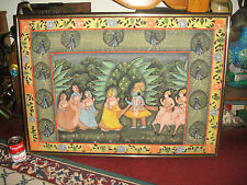 India Hindu Religious Painted Tapestry-Framed-Marriage Ceremony-Peacocks-Large