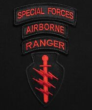 SPECIAL FORCES AIRBORNE RANGER 4 PATCH HOOK SET USA MILITARY US BLACK OPS RED