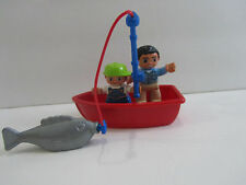 Lego Duplo People Figures Dad Boy Child Boat Fish & Fishing Rod Lot Set    NEW