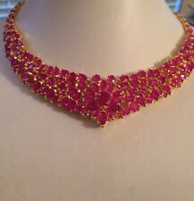 "HIGH END! DELUXE! RED RUBY NECKLACE 16""HANDCRAFTED"