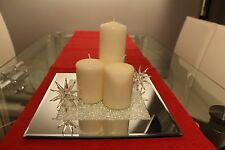 New Mirrored Glass Candle Plate With Swarovski Crystals Dining Table Centrepiece