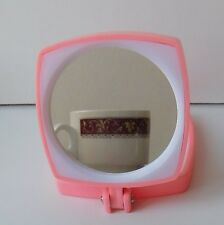 Winfield cosmetic mirror vintage 1970s Woolworths pink plastic Magnifying Plain