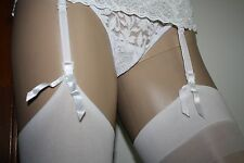 "White Stockings,Lace Garter Belt, Thong, Medium/Long ""5"" Pieces""ONLY AT LYNNIES"""