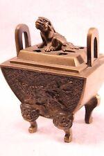 Brass Foo Dog Antique Incense Burner Chinese Fu Pixiu Kirin Suanni Legs