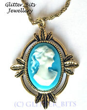 VAMPIRE DIARIES KATHERINE ANTIQUED VINTAGE CAMEO NECKLACE VICTORIAN PENDANT