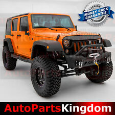 07-16 Jeep JK Wrangler Stubby Rock Crawler Front Bumper+Fog Light Ho+Winch Plate