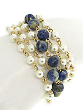 Gold and Pearl with Blue Multi Acrylic Bead Bracelet