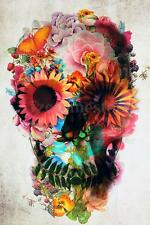 FLOWER SKULL FACE Illusion Trippy Art Silk Poster 24x36 inch NEW