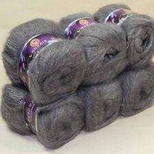 6ballsX50g MOHAIR 50% Angora Cashmere 50% silk hand Yarn Knitting slate gray 19