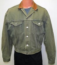 vtg Levi's OLIVE GREEN 90s Jean Jacket MED LEATHER COLLAR Oversize denim Canada