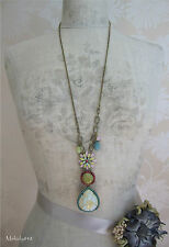 Signed BOHM Enamel Flower Long Necklace Gold/Pastels/Turquoise BNWT RRP £50