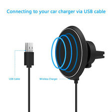W3 Air Vent Magnet Car Mount Holder Qi Wireless Charger 8pin Lightning Receiver