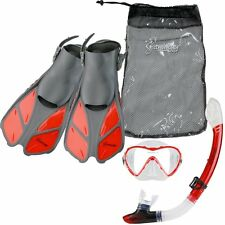 Seavenger Diving Set (Clear Red )S/M Adult Size Trek Fin Single Lens Mask Bag