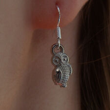 Silvered Owl, Dangle Earrings on .925 sterling silver french hooks. Classic Owls
