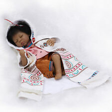 Nicery Reborn Baby Indian Doll Silicone Black Skin 22in. 55cm Girl Toy Totem NPK