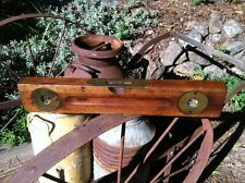 """Antique Vintage 1890s Stanley Level 18"""" Old Carpenter's Tool Wood Brass Beauty!"""