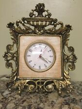 Victorian Gilt ORMOLU Frame Vintage Electric Table / Vanity Clock & Alarm