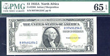 1935 A, $1 Fr2306 N. Africa Small Size Silver -Pmg-65 Epq