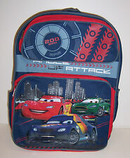 "Disney CARS LIGHTNING McQUEEN Large 16"" BACKPACK School Bag Angle of Attack NEW!"