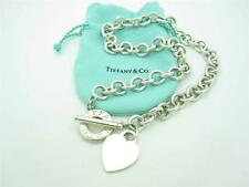 Tiffany & Co. Sterling Silver Heart Tag Toggle Chain Link Necklace 16""