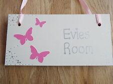 Girls Personalised childrens bedroom door wooden sign/plaque