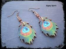 Hand painted peacock feather earrings with copper, totem, Wicca, faery, witch