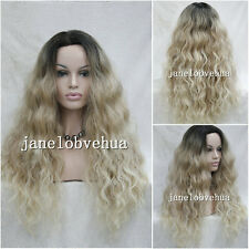 2017 Ladies Front lace Wigs Curly Long hair black root Blonde mix quality wig